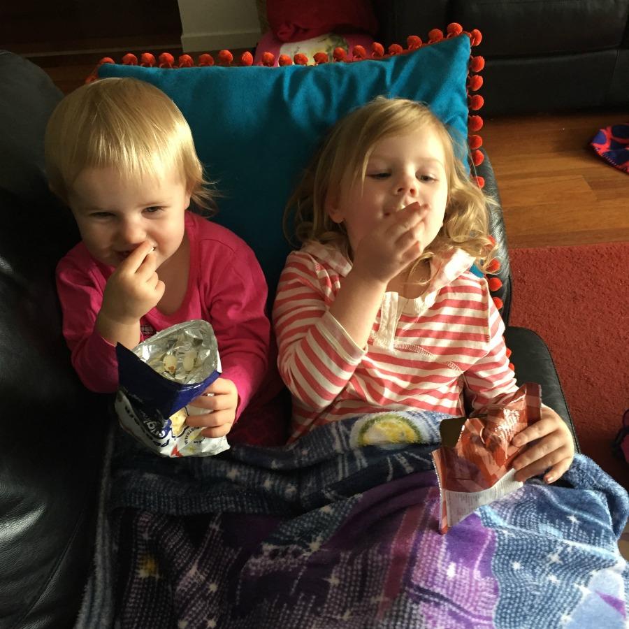 watch a movie with snacks