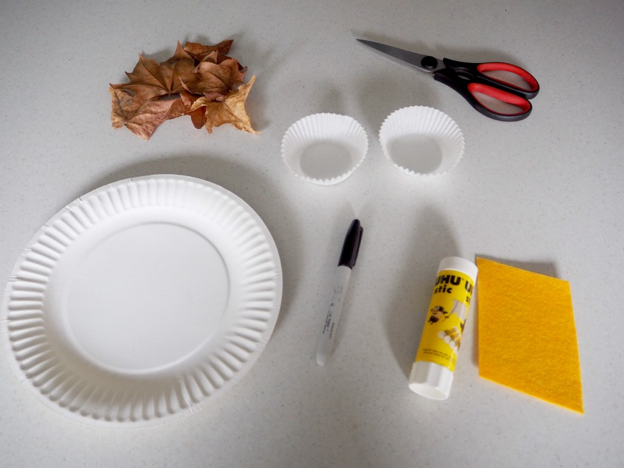 materials for leafy owl paper plate craft