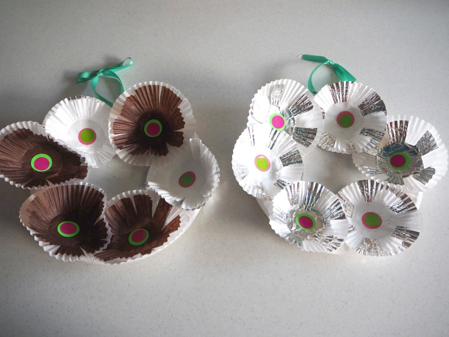 cupcake case wreath