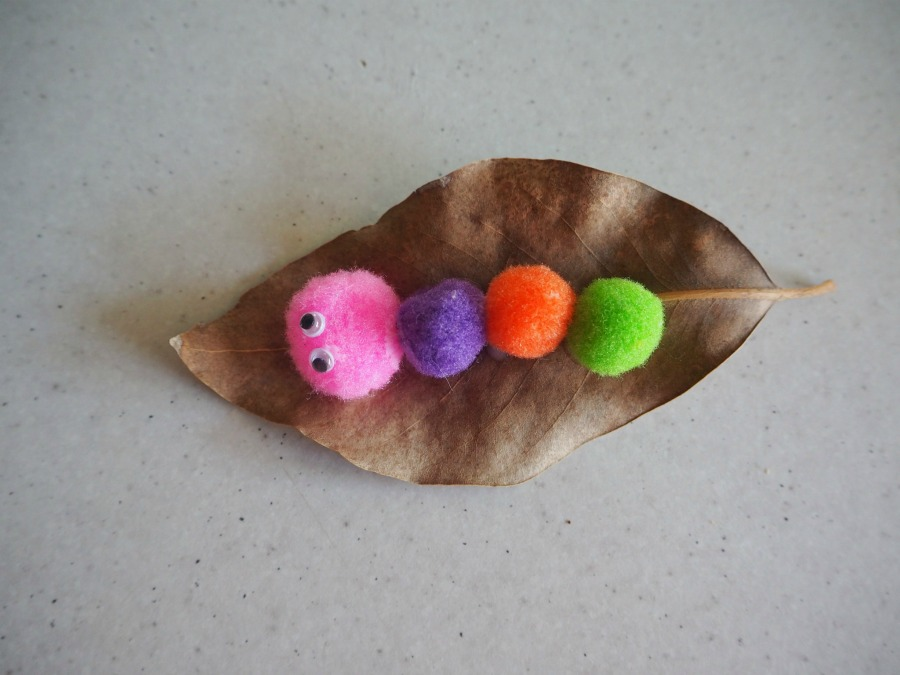pom pom caterpillars on leaves craft