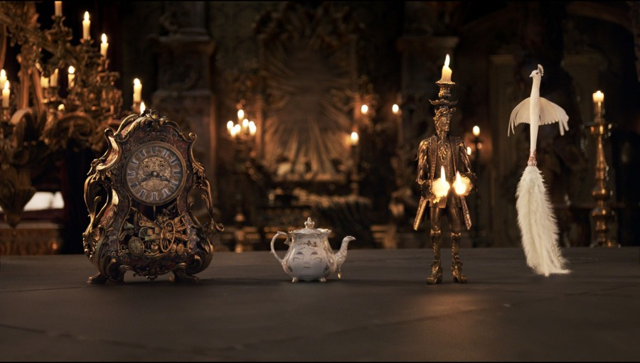 Cogsworth (Ian McKellen), Mrs. Potts (Emma Thompson), Lumière (Ewan McGregor), and Plumette (Gugu Mbatha-Raw) - Beauty and the Beast