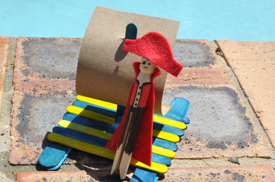 Pirate Peg Doll Craft Kit and paddle pop stick raft