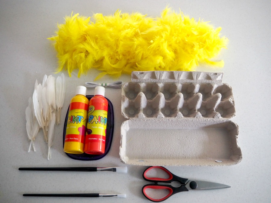 materials for easter craft egg carton chick masks