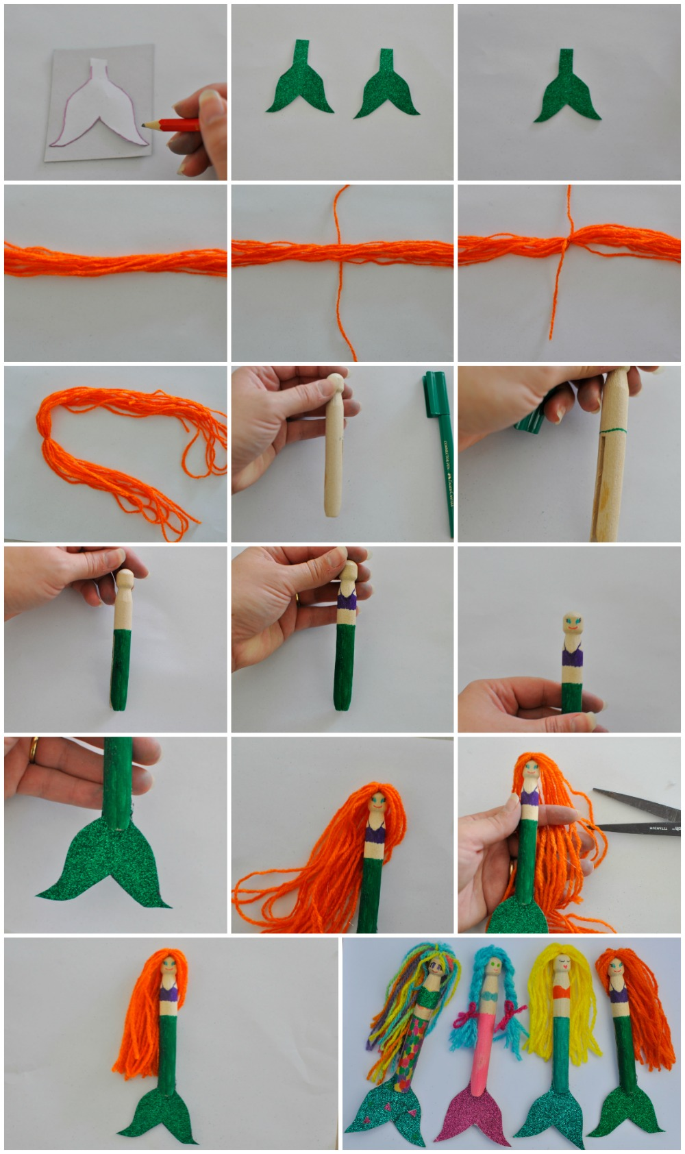 Mermaid Peg Dolls